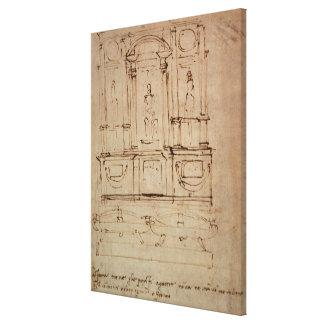 Estudio para una tumba doble impresión en lona