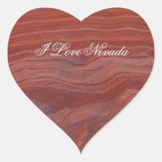 Estudio rojo de la capa de la roca; Recuerdo de Pegatina En Forma De Corazón