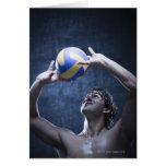 Estudio tirado de jugar del jugador de voleibol tarjeta