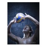 Estudio tirado de jugar del jugador de voleibol tarjetas postales