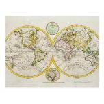 Estudio tirado de mapa del mundo antiguo postales