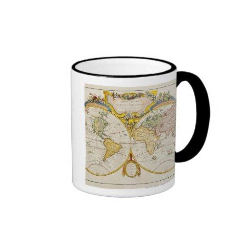 Estudio tirado de mapa del mundo antiguo taza de café