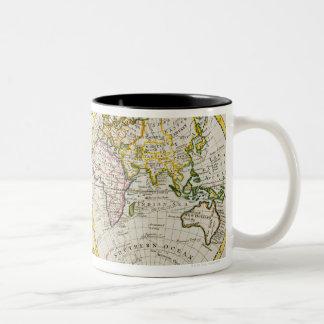 Estudio tirado de mapa del mundo antiguo tazas