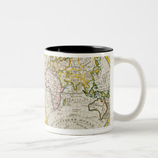Estudio tirado de mapa del mundo antiguo taza de dos tonos