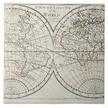Estudio tirado del mapa del mundo antiguo 3 azulejo cuadrado grande