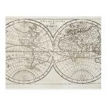 Estudio tirado del mapa del mundo antiguo 3 postal
