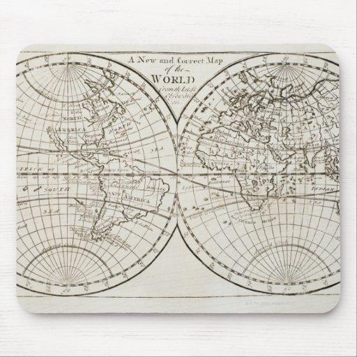 Estudio tirado del mapa del mundo antiguo 3 alfombrilla de ratones