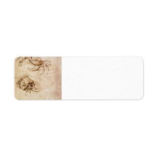Estudios de cangrejos de Leonardo da Vinci Etiquetas De Remite