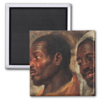 Estudios de la cabeza de dos hombres africanos imán cuadrado