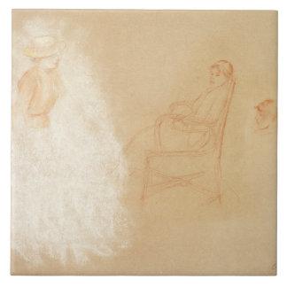 Estudios de las mujeres (tiza en el papel) azulejo cuadrado grande