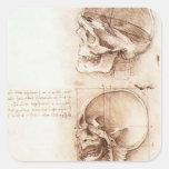 Estudios de Leonardo DA Vinci- del cráneo humano Pegatinas Cuadradas Personalizadas