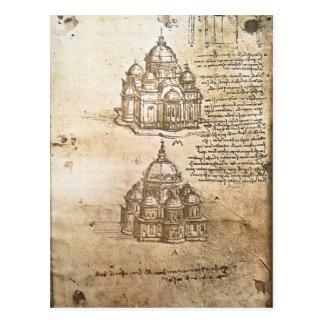Estudios de Leonardo Vinci- de los edificios centr Postal