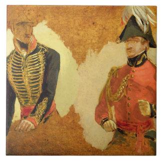 Estudios del uniforme real de la artillería del ca azulejo cerámica