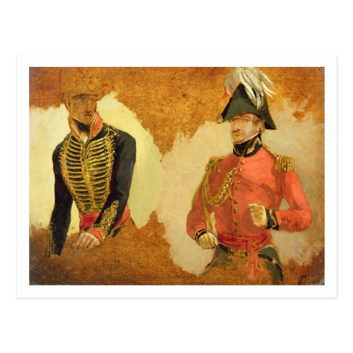 Estudios del uniforme real de la artillería del ca tarjeta postal