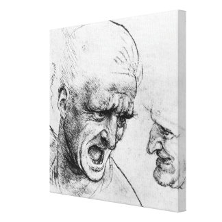 Estudios para las cabezas de dos soldados impresión de lienzo