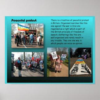 Estudios sociales, ciudadanía, protesta pacífica póster