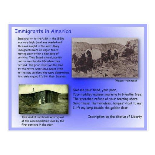 Estudios sociales, historia, inmigrantes a América Tarjetas Postales