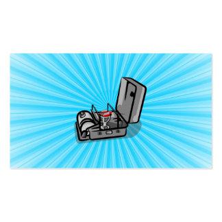 Estufa de campo clásica en una lata tarjetas de visita