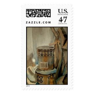 Estufa de la acuarela sello postal