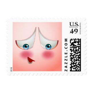 Estupendo arroje y Emoji rosado de ruborización Estampilla
