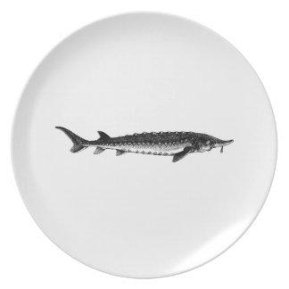 Esturión atlántico plato de comida