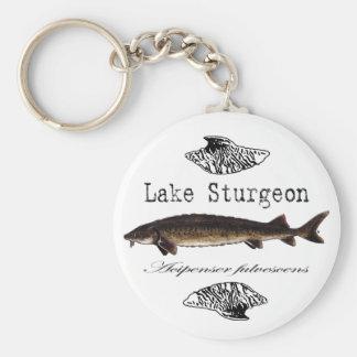 Esturión del lago llavero redondo tipo pin