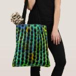esverdeada, bagunçadas black small balls, lined tote bag