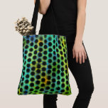 esverdeada with blurred black small balls and tote bag