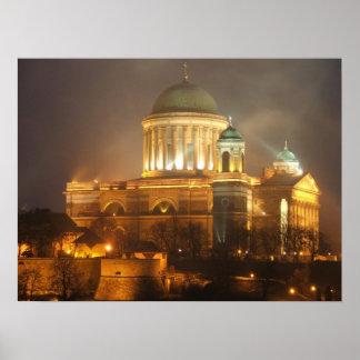 Esztergom bazilika lights poster