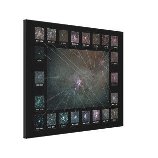 Eta Carina Nebula Wide Field Detailed View Chart Canvas Print