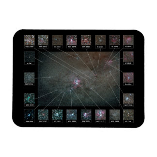 Eta Carina Nebula Wide Field Detailed View Chart Vinyl Magnets