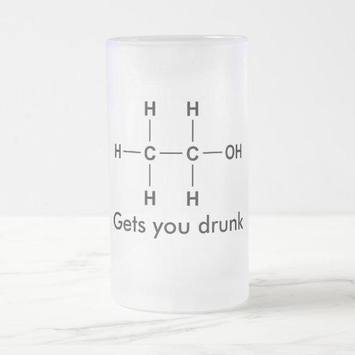 Etanol, le consigue bebido taza cristal mate