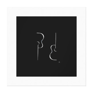 Etapa blanco y negro simple una de la guitarra de impresiones de lienzo