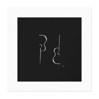 Etapa blanco y negro simple una de la guitarra de lona envuelta para galerías