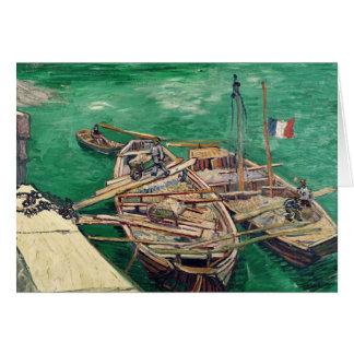 Etapa de aterrizaje con los barcos, 1888 tarjeta de felicitación