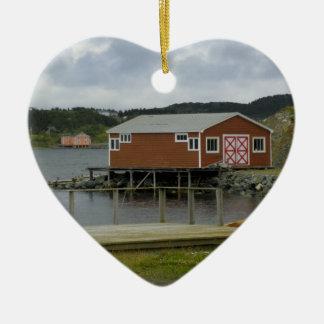 Etapa de la pesca en Twillingate Adorno Navideño De Cerámica En Forma De Corazón