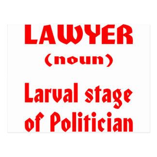 Etapa larval del abogado (sustantivo) del político tarjetas postales
