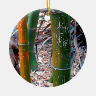 Etched Bamboo Ceramic Ornament