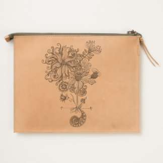 etched flower line drawing leather bag