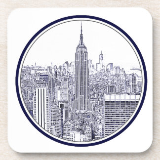 Etched Look NYC Skyline, Round Frame Coasters