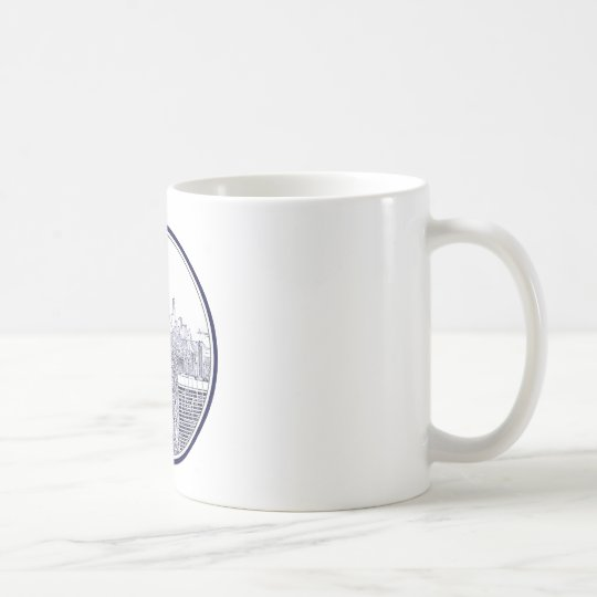 Etched Look NYC Skyline, Round Frame Coffee Mug