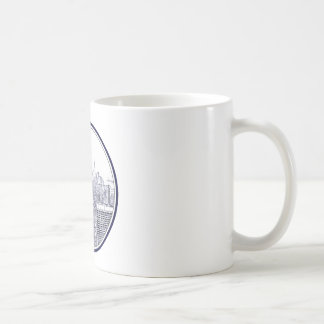 Etched Look NYC Skyline, Round Frame Coffee Mugs