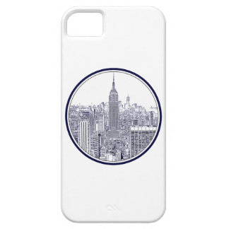Etched Look NYC Skyline, Round Frame iPhone 5 Covers