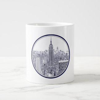 Etched Look NYC Skyline, Round Frame Giant Coffee Mug