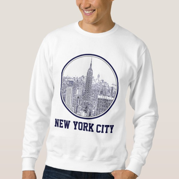 Etched Look NYC Skyline, Round Frame Sweatshirt