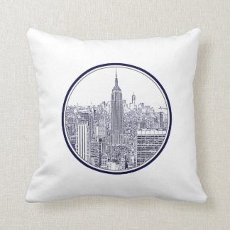Etched Look NYC Skyline, Round Frame Throw Pillow