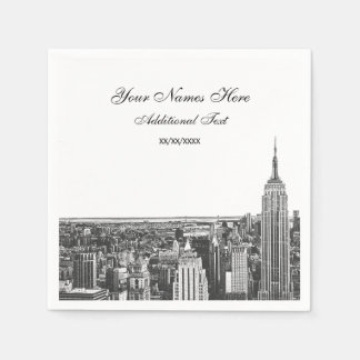 Etched Look NYC Skyline Silhouette, ESB Paper Napkins