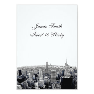 Etched NYC Fisheye Skyline 2 BW Sweet 16 V Card