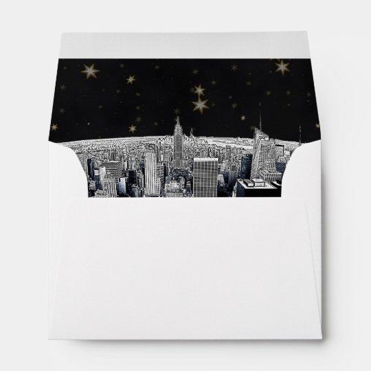 Etched NYC Skyline 2 Black Gold Star Fancy Env 1 Envelope