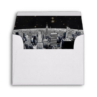 Etched NYC Skyline 2 Black Gold Star Fancy Env 3 Envelope